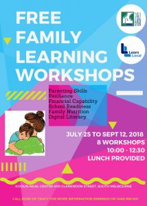 Port Phillip Community Group Free Family Learning Workshop Flyer