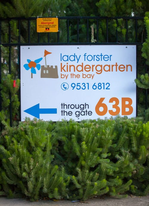 Lady Forster Kindergarten Contact: Outdoor Sign